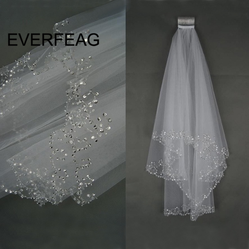 Elegant Beaded Short Wedding Veil White Ivory Elbow Length Veils Bridal with Comb voile de mariee Wedding Accessories Bride