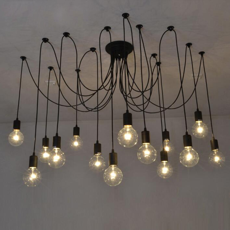Mordern bar Nordic Retro Edison Bulb Chandelier Antique Vintage Loft DIY E27 Art Spider Ceiling Lamp Fixture Light 5-16 heads mordern nordic retro edison bulb light chandelier vintage loft antique adjustable diy e27 art spider ceiling lamp fixture lights