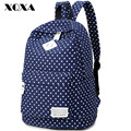 Xqxa polka impressão mulheres lona ocasional saco mochila mochila para adolescentes meninas mochilas escolares mochila femenina estilo do vintage