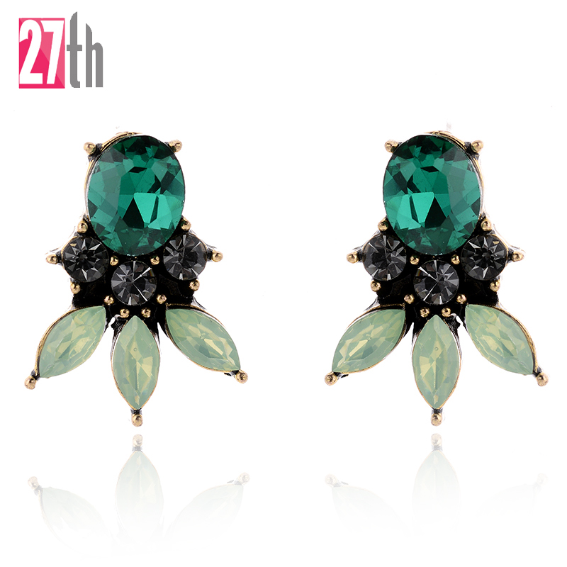 2017 Fashion Crystal Earrings Vintage Punk Style Brand New Stud Earrings for Women Gift Fast Shipping 4 Colors Statement
