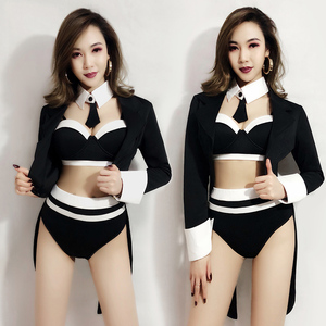 New Female Dance Costume Hip-Hop Nightclub Set Sexy Woman Jazz Singer DJ Stage Outfits Bar DS Performance Costumes Gogo DQS1305(China)