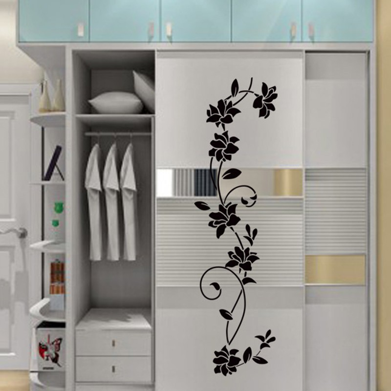 Black Wall Stickers Flower Vine Wardrobe Stickers Bedroom Living Room Decors For Home Fridage Decoration C Home & Garden