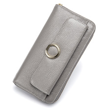 Mobile Phone Bag Genuine Leather Dual Purpose Long Zipper Women Wallet Men and Women Versatile Wallet Large Capacity Bank Card