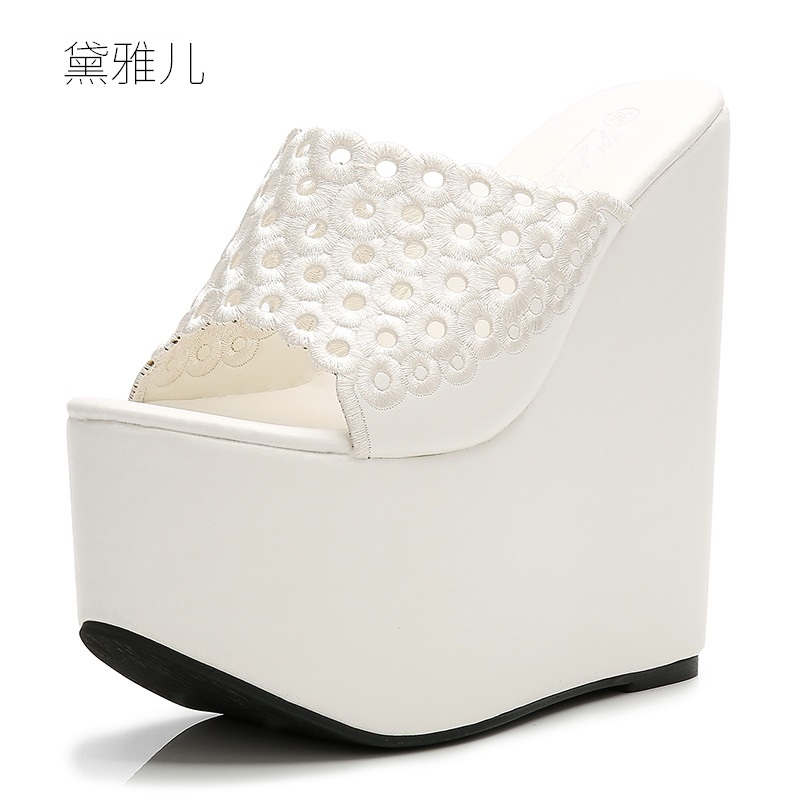 2018 Summer Style Fashion White Sexy Wedges Slippers High Heels Sandals for Women's with Female Shoes Woman Wedding Ladies Black 2018 plus size 40 50 summer style fashion red sexy high heels for sandals women s with female shoes woman wedding ladies black