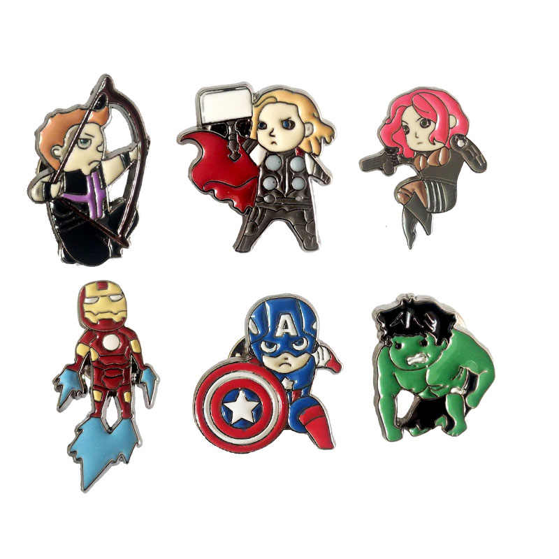 The Avengers 4 Iron Man Captain America Bros Pin Thor Marvel Black Widow Figure Tas Pin Hadiah untuk Wanita Bros perhiasan