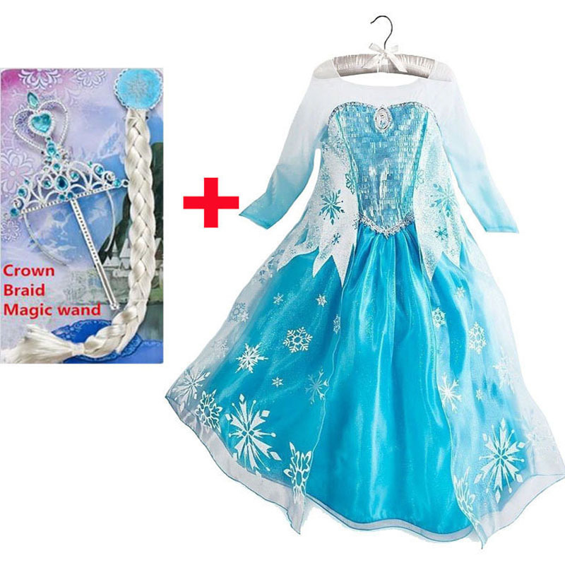 купить New year costumes for kids elsa party dress elza costume jurk vestido de festa fantasias infantis para menina disfraz princesa по цене 597.02 рублей