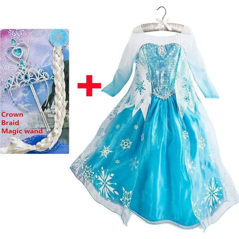 New year costumes for kids elsa party dress elza costume jurk vestido de festa fantasias infantis