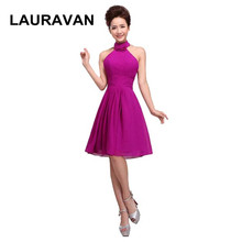 short simple knee length size 6 semi formal sexy deep purple halter neck  short fitted bridesmaid dresses 2018 free shipping 054b072b279a