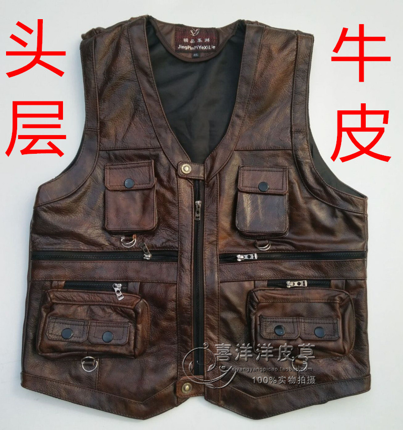 2020 Men Thick Head Layer Cowhide Leather Vest Many Fashion Vest Pocket