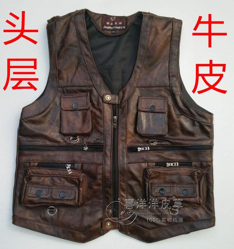 2020 Men Thick Head Layer Cowhide Leather Vest Many Fashion Vest Pocket