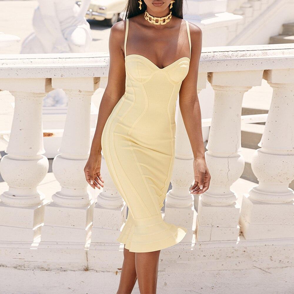 Ocstrade Vestido Midi Bandagem 2019 New Women Lemon Yellow Fluted Bustier Mermaid Bandage Dress Bodycon Sexy Club Party Dresss