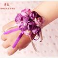 4 Colores 2 Unids/lote Bonita Muñeca Pulsera de Flores de La Boda Ramo de Novia de Seda Ramillete de Perlas Decoración de la boda bouquet
