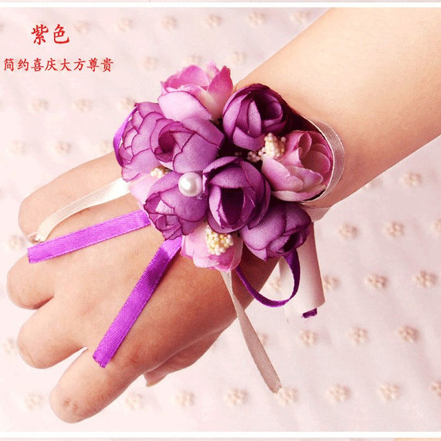 4 Colors 2 Pcs/lot Pretty Silk Wedding Wrist Flowers Wedding Bouquet Bracelet Corsage Pearls Decoration wedding bouquet
