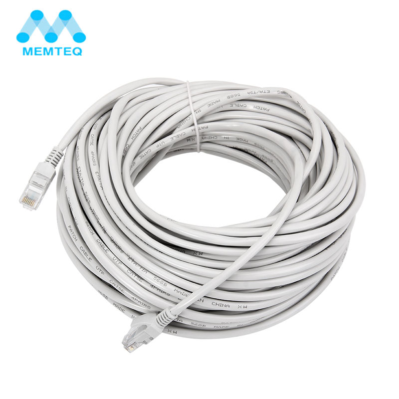 MEMTEQ Ethernet Cable 100FT 30m Cat 5e Ethernet Cable RJ45 Cat5e Network LAN Internet Patch Lead White for PC Router Laptop cat7 ethernet cable high speed lan cable sstp rj45 flat lan network cable 1m 2m 3m 6m 8m 15m 30m for pc laptop cable ethernet