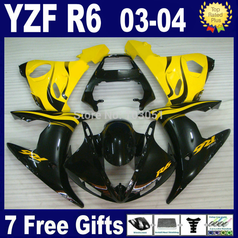 Custom Road motorcycle fairing kits For Yamaha YZFR6 2003 2004 2005 yellow black  YZF R6 2003 2004 2005  03 04 05 body Fairings road race motorcycle fairings kit for yamaha r6 2003 2004 2005 yzf r6 03 04 05 black silver fairing kits bodywork part
