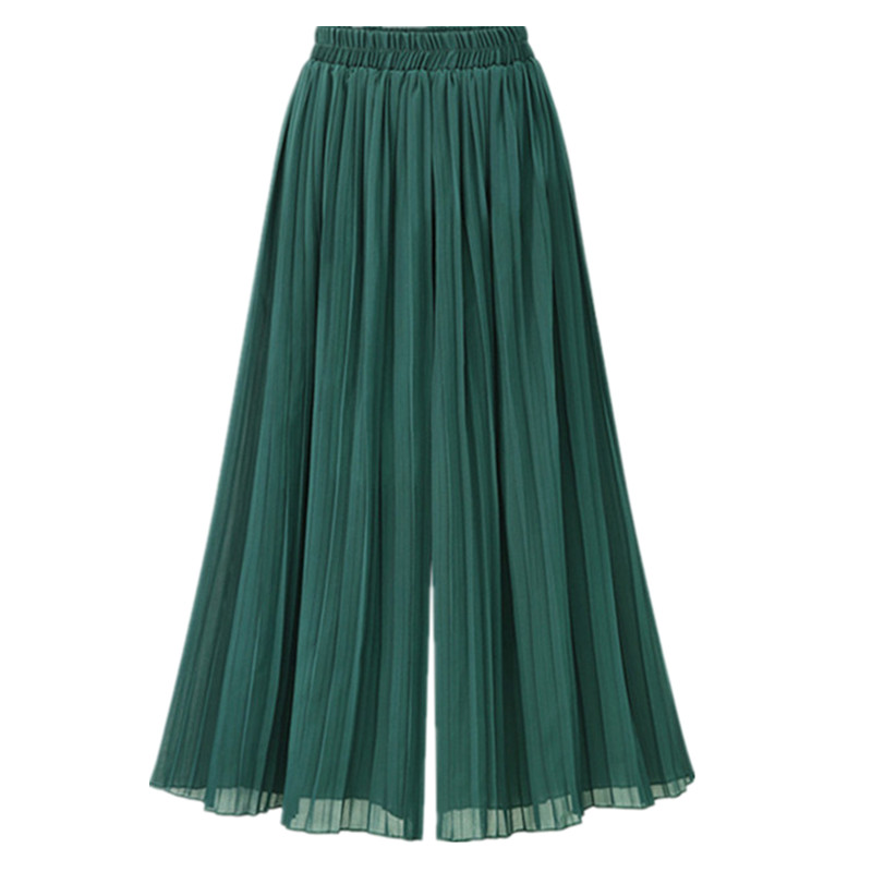 Chiffon Wide Leg High Waist Cropped Pant For Women Casual Pleated Summer Vintage Boho Female Green Capris Trousers B82205A