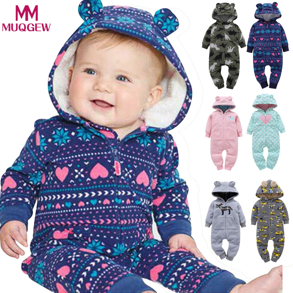 2018 NEW Baby Rompers Printed Winter Thick Warm Baby boy Girl Clothing Long Sleeve Hooded Jumpsuit Kids Newborn Outwear 6 Color 2017 new baby rompers winter thick warm baby boy clothing long sleeve bebe girl hooded jumpsuit kids newborn outwear for 0 24m