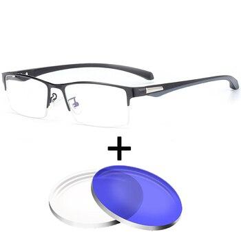 abb11cf266 1,67 índice 1,61 óptica gafas Anti-Luz Azul gafas miopía Multifocal  astigmatismo hombres Plaza Hulf Marco de gafas