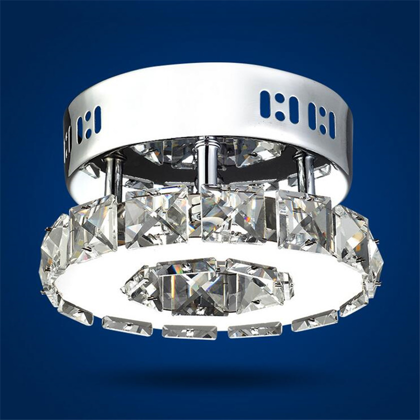 Lâmpadas de teto cristal moderna led anel