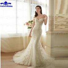 2017 New Arrive bride Wedding Dresses Elegant Mermaid Off Shoulder Boat Neck Crystal Lace Appliques White Ivory vestido de noiva