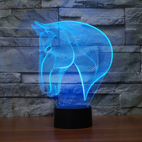 3D LED Color Changing Lamp Horse Head Multi Colored Bulbing Light Acrylic 3D Hologram Illusion Desk