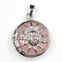 FYJS Unique Elegant Women Jewelry Silver Plated Locket Hollow Sun Natural Rose Pink Quartz Pendant