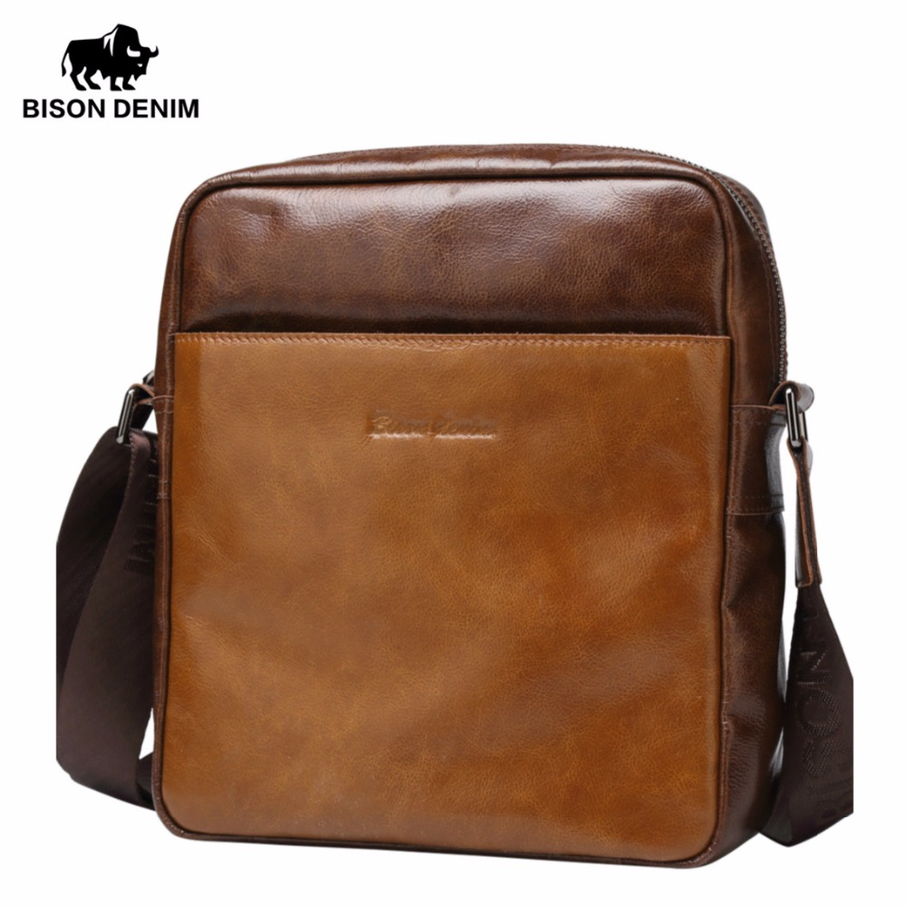 BISON DENIM Genuine Leather Men bags Crossbody Brand Designer Vintage Retro Cowhide Men Messenger Bag Leather Shoulder Bag N2488 bison denim genuine leather men s bag business shoulder crossbody bag christmas gift designer handbags high quality n2333 1
