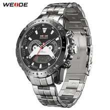WEIDE Quartz Sports Casual Luxury Brand Men Auto Date Calendar Week Display Repeater Alarm Watch Stainless Steel Digital Clock weide watch repeater analog lcd digital display outdoor men sport quartz movement date stopwatch back light stainless steel band