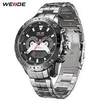 WEIDE Quartz Sports Casual Luxury Brand Men Auto Date Calendar Week Display Repeater Alarm Watch Stainless Steel Digital Clock