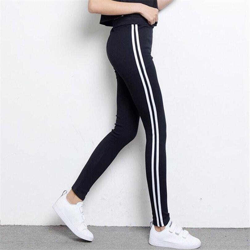 VISNXGI Women Stripe Pants Women Cotton Legging Elastic Pants Thin Casual Leggins Lady Mid Waist Activewear Trousers Clothing