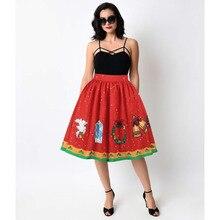 Echoine Fashion Christmas Cosplay Print Women Pleated Skirts High Waist Ball Gown Knee Length Red Casual Skirt