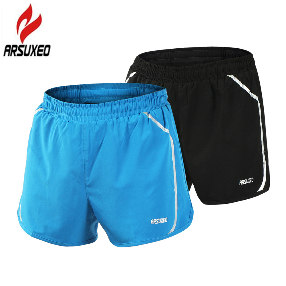 ARSUXEO 2017 New Pro Quick Dry Men's Running Shorts Men 2 In 1 Marathon Gym Fitness Training Sport Shorts with Zipper Pocket