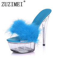 Big Size 35 43 Sexy Super High Heels 15CM Transparent Crystal Sandals Slippers With Feathers Nightclub Sexy Woman Shoes White