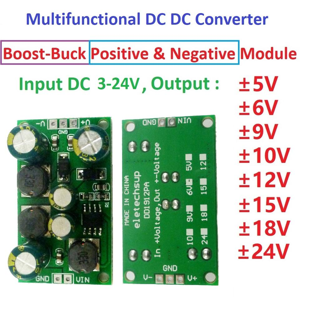 DYKB 2in1 DC-DC Converter Boost-Buck Positive Negative Power Supply 3V~24V To ±5V ±6V ±9V ±12V/±15V ±24V Voltage Regulator