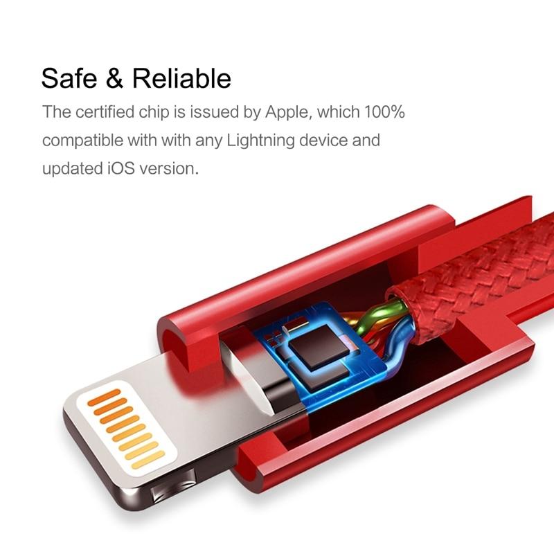 ROCK 2.4A Metal USB-kabel för iPhone 5 SE 6 6s 7 8 plus X XS XR XS - Reservdelar och tillbehör för mobiltelefoner - Foto 2