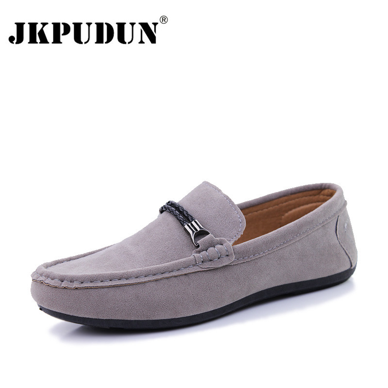 JKPUDUN Men Smart Casual Shoes Luxury Brand 2017 Black Suede Leather Fashion Boat Shoes Mens Flat Slip On Loafers Zapatos Hombre black and bule suede red bottom luxury mens loafers new france brand slip on spikes shoes