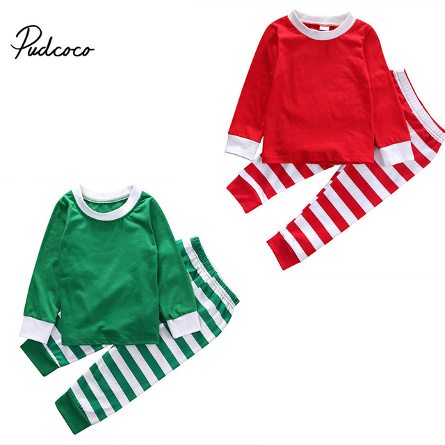 Kids Striped Xmas Pjs Pajamas Baby Boy Girl Christmas Festivel Sleepwear Pajamas Family Photography Prop Outfit Clothing Sets