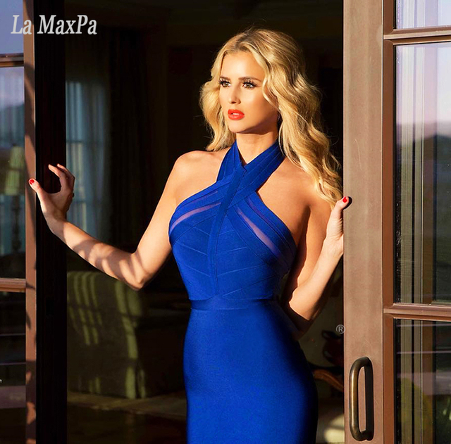 99c75990a0 US $26.1 10% OFF| New Summer Evening Party Dresses 2017 Women Sexy Vestidos  Halter Neck Blue Black Bodycon Bandage Dress wholesale-in Dresses from ...