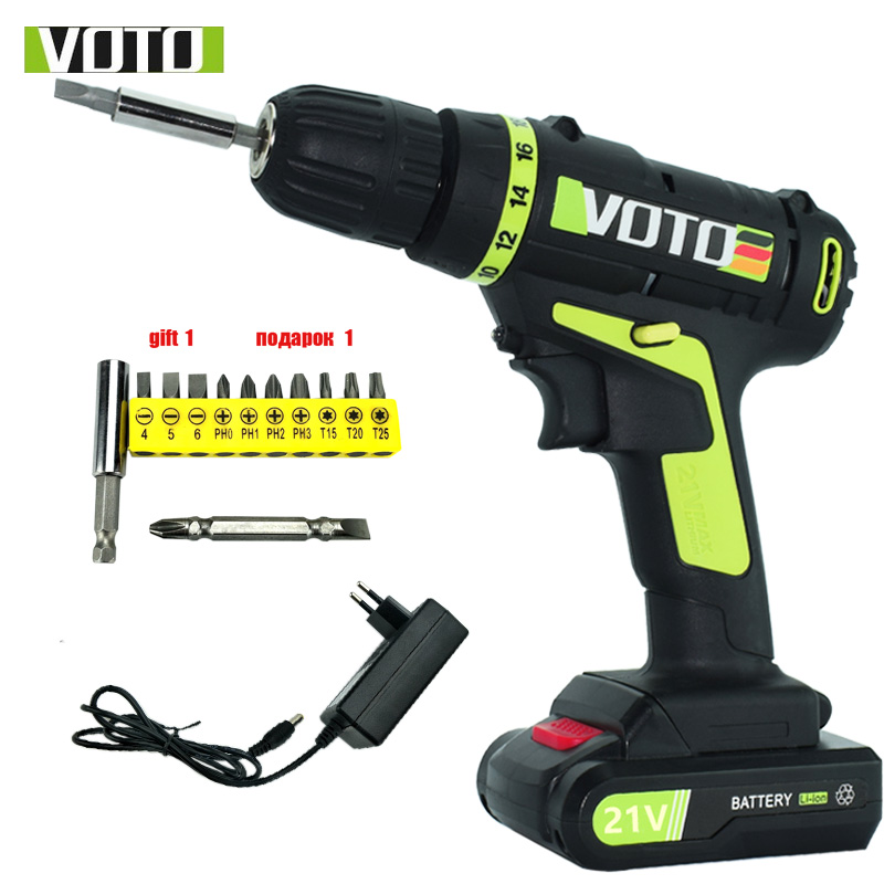 цена на 21V electric Screwdriver battery screwdriver cordless drill power tools professional electric torque screwdriver electric drill