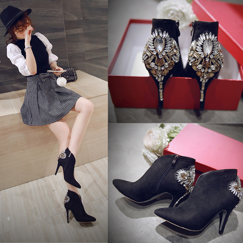 New fashion ankle boots for woman in autumn\spring pointed toe thin high heel black suede with bling flowers decorated hot sale autumn winter cool fashion black leather and suede spike heel short boots charming woman pointed toe ankle boots concise design