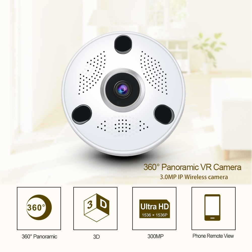HBUDS WiFi Security Camera 3.0MP Indoor Wireless Panoramic Camera,360degree Panoramic Fish Eye Lens,Two-Way Audio & Night vision