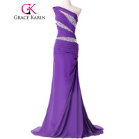 Free Shipping Grace Karin Designer One Shoulder Chiffon Sequins Long Formal Evening Dress Gown CL4971