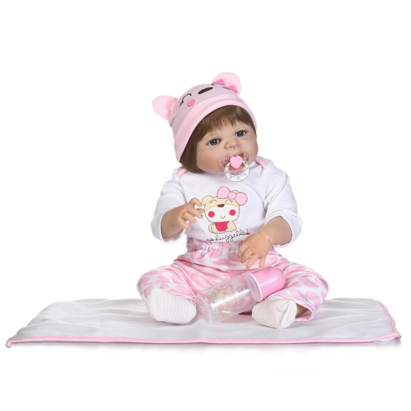 New Victoria Full Body Silicone Reborn Dolls 55cm Lifelike Reborn Dolls Babies Pink Bear Clothes Bathed Baby Doll Toy Xmas Gifts christmas gifts in europe and america early education full body silicone doll reborn babies brinquedo lifelike rb16 11h10