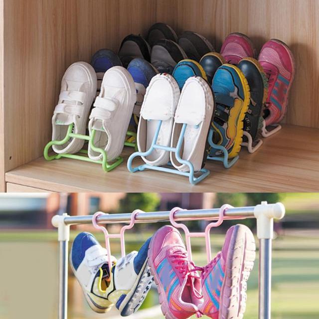 2PCS Plastic Shoes Storage Rack Hanging Storage Shelf Drying Rack Shoe Rack  Stand Hanger 5O1109