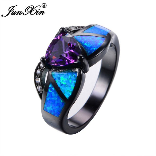 junxin female purple triangle ring black gold blue fire opal ring vintage wedding rings for women - Purple Wedding Ring