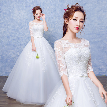 Holievery Scoop Neck Tulle Ball Gown Wedding Dress with Half Sleeves 2019 Lace Applique Wedding Gowns High Waist Bridal Dresses