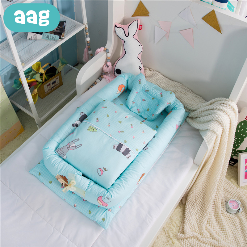 AAG Portable Baby Nest Cribs Newborn Nursery Travel Bed Cotton Pillow Quilt Toddler Newborn Baby Cradle Crib Nest Foldable 40