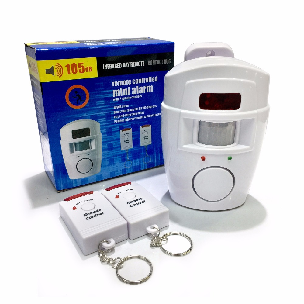 Alerte Capteur Infrarouge Anti-vol Détecteur de Mouvement Alarme Moniteur Sans Fil système D'alarme + 2 télécommande