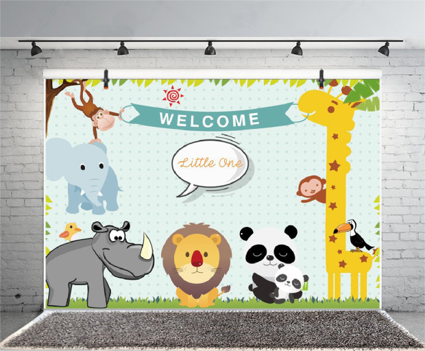 Laeacco Animal Paradise 1st Baby Birthday Party Photography Backgrounds Customized Photographic Backdrops For Photo Studio
