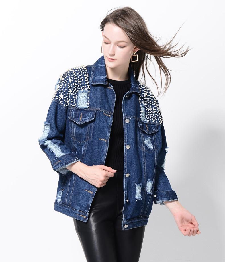 Yollmart Pearl Dotted Unicorn Patch Denim Jacket Women Tearing Hole Sequin Lapel Long Sleeve Jean Coat Autumn Blue Denim Jackets